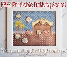 FREE Printable Scene to go with Nativity Bottle Cap Images!