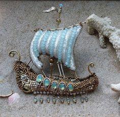 Купить Ладья ,,Свирь,, - бирюзовый, кораблик, брошь, украшение из бисера, Украшение ручной работы, свадьба