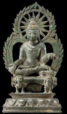 公元7世紀,斯瓦特河谷,巴基斯坦,歷史的釋迦牟尼佛,青銅,私人收藏。