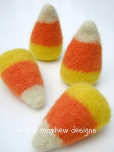 PATTERN Wool Candy Corn Knitting & Felting by woollysomething, directions for 'reindeer corn', 'cupid's corn', 'harvest corn' & 'Easter corn'