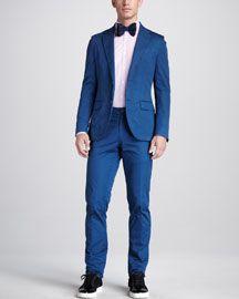 -42C0 Lanvin Overdyed Cotton Suit & Gingham Button-Down Shirt