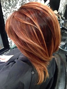 Deep red and copper balayage