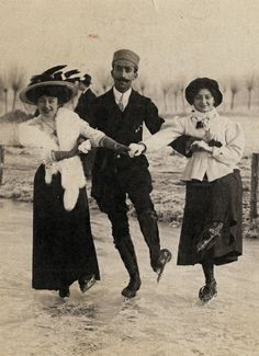 +~+~ Antique Photograph ~+~+  Ice-Skating in Lausanne, Switzerland.  Their clothes are fabulous and I love the different hats!  Photograph by Bossi.