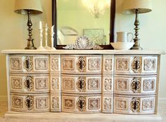 Spanish Inspired Carved Buffet/Dresser/Media Console/Entry Way Table L x W x H Mod Furniture, Regency Furniture, Vintage Furniture, Furniture Ideas, Media Cabinets, Through The Looking Glass, Cute Diys, Hollywood Regency, Dressers
