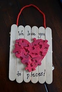 Love You to Pieces- Popsicle sticks Valentines Day Art Project for kids....(not just for kids, i say! i LOVE this idea!)....