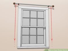 How to Drape Window Scarves. A window scarf, smartly hung, can highlight an entire room. Use a window scarf to cover up a curtain rod, or install scarf hooks to hang a window. Drapes And Blinds, Home Curtains, Window Drapes, Hanging Curtains, Window Coverings, Panel Curtains, Window Treatments, Bedroom Drapes, Curtains Living