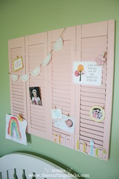 Re-purposing old shutters for a kids bulletin board. I love this idea. Found at a thrift store for $2. Amazing!