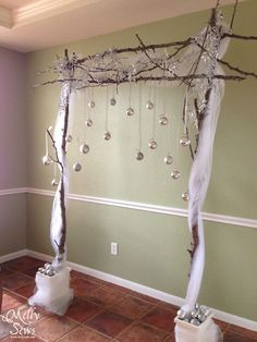I don't love this arch, but I do think the silver balls are a cool idea. wedding backdrop Winter Wedding on a Budget - DIY Backdrop Tutorial - Melly Sews Diy Wedding On A Budget, Diy On A Budget, Wedding Ideas, Wedding Reception, Wedding Church, Arch Wedding, Wedding Table, Wedding Hair, Christmas Backdrops