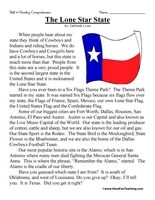 Second Grade Reading Comprehension Worksheet - The Lone Star State ...