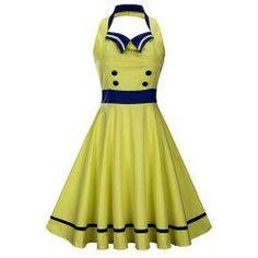 #trendsgal.com - #Trendsgal Sleeveless Backless Sailor Collar Pin Up Dress - AdoreWe.com