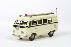 Vintage VW Police Bus, Tippco, W.-Germany, tin friction.