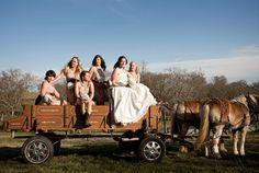 Bridesmaids Fun! Horse and Wagon!  Rustic Country Barn Wedding  Cali Ashton Photography: Nashville, TN
