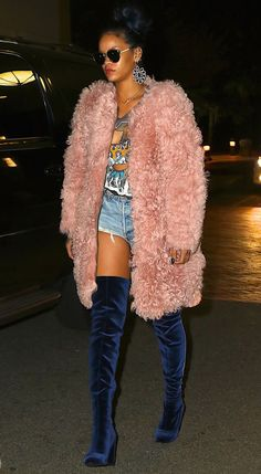 Rihanna rocked a pink fur coat by Ulla Johnson and... | RIHANNA.STYLE