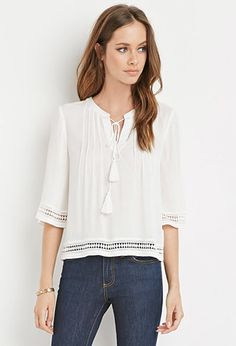 Crochet-Trimmed Peasant Top | Forever 21 - 2002247248