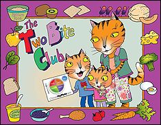 Parents or caregivers read the book to children and encourage them to try foods from each food group by eating just two bites, just like the characters in the story. The back of the book contains a MyPlate coloring page, a blank certificate for the Two Bite Club, fun activity pages for kids, and Tips for Growing Healthy Eaters.