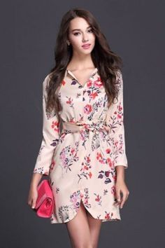LUCLUC Floral printed V-Neck Chiffon Dress
