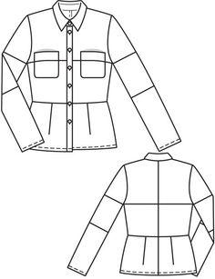 Burda - Long sleeved blouse with collar and many seams. Burda Patterns, Fabric Patterns, Sewing Patterns, Sewing Ideas, Scrap Recycling, Flat Drawings, Box Tops, Sewing Class, Collar Blouse