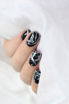 Black stone marble nails video tutorial.