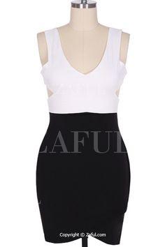Sleeveless Black and White Bodycon Dress