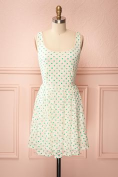 Dolly Funky - Off-white lace dress with green polkadots