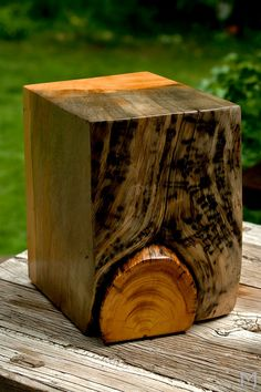 Cool Live Edge Salvaged Wood End Tables // Blue Stain Pine by MezWorks on etsy