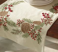 Embroidered Pinecone Table Runner, 18 x 108 Vintage Embroidery, Embroidery Patterns, Machine Embroidery, Table Runner And Placemats, Table Runners, Winter Table, Fall Table, Pottery Barn Christmas, Pine Cone Decorations