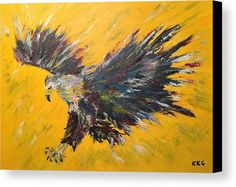"""African Fish Eagle: An acrylic painting of an African Fish Eagle printed on to premium stretched canvas over a wooden frame by Kelly Goss Art. Delivered """"ready to hang"""". Perfect to brighten up and decorate your home. Fit for any wall in any room. The special gift to spice up a friend's home decor. For a lover of animals, African wildlife and bird art."""