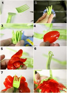 1as make flower with plastic forks and spoons