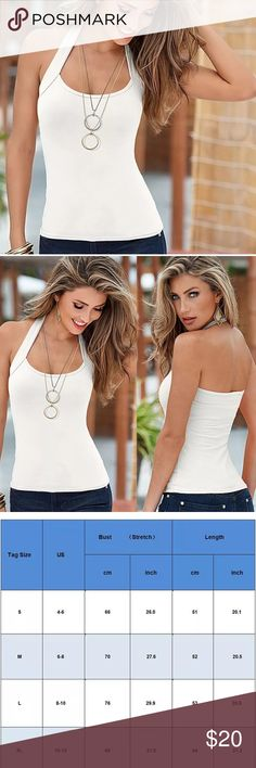 SEXY WHITE HALTER TOP TANK Great white tank with a halter style top. Stretchy, soft and lightweight, you'll love the feel of this sexy top.  Save 20% on 2+ items in my Closet.   SIZE: Various  COLOR: White  APPROXIMATE MEASUREMENTS: See size chart Tops Tank Tops