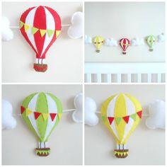Hot Air Balloon Garland Bunting Banner Lime Lemon by MaisieMooNZ