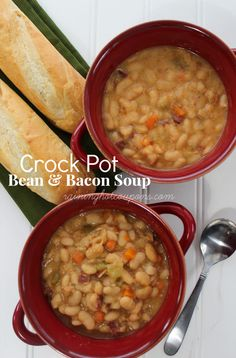 crock POT BEANS SOUP Crock Pot Bean & Bacon Soup (Super yummy...this is a giant recipe though. Add more liquid and cook for longer. Think about halving the recipe.)