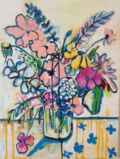 contemporary flower still life painting by ArtontheMoonstudio