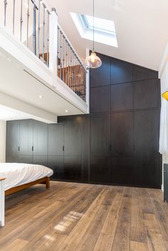 An incredible door to ceiling wardrobe // The dark walnut mixing with the lighter wooden floor, created a fantastic match. Light Wooden Floor, Dark Walnut, Wooden Flooring, Lighter, Floors, Stairs, Ceiling, The Incredibles, Inspiration