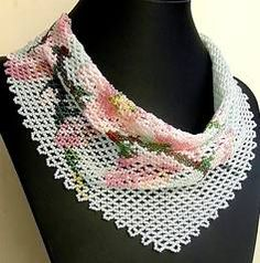 Beaded scarf - Sakura pattern