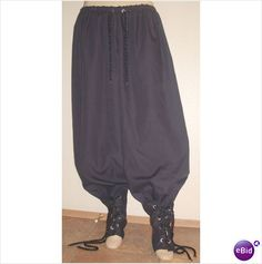 "New mens black SCA renaissance pirate pants MED 32""-40"""