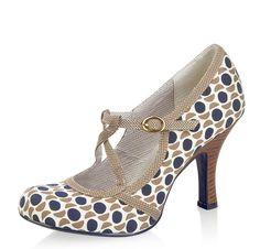 Ruby Shoo Edie Stone Navy Polka Dot Mary Jane High Heel Shoes (UK Size 5, Colour Stone/Navy)