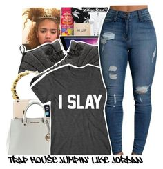 """""""I slay~ Jasmine"""" by trillest-shauney ❤ liked on Polyvore featuring art"""