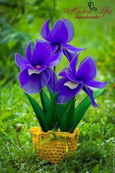 Цветы ручной работы. Ярмарка Мастеров - ручная работа. Купить Цветы из капрона.Ирисы.. Handmade. Разноцветный, сиреневый цвет