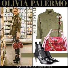 Olivia Palermo in khaki floral embroidered jacket with red fuchsia bird print bag