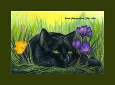 Black Cat Print A Spring Day Out from an original by I Garmashova