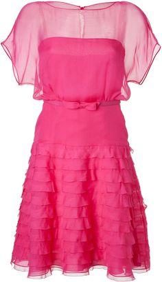 VALENTINO Fuchsia Belted Silk Dress - Lyst