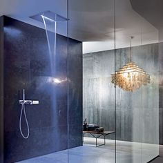 Design by Franco Sargiani for Fantini. ACQUA ZONE: ceiling shower head with rain and waterfall. ACQUA ZONE DREAM: new generation ceiling shower head, with electronic controls and six different moods of water and light. Spa Like Bathroom, Bathroom Taps, Amazing Bathrooms, Modern Bathroom, Ceiling Shower Head, Dream Shower, Waterfall Faucet, Waterfall Shower, Shower Fixtures