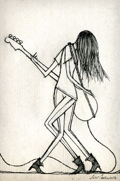 paz lenchantin very cool artwork depicting her famous moves while playing her bass