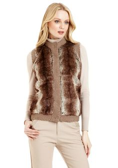 SIONI Faux Fur Vest with Knit Trim-ideeli-30.00