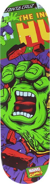 """Santa Cruz Marvel Hulk Hand Skateboard deck: 8.26"""". Come on, you saw this deck before and thought about buying it, well we got a few left so get it while you still can. """"Skate to destroy it or collect"""