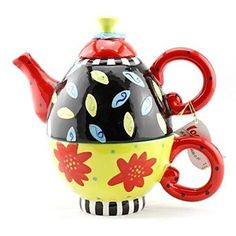 Kitchen boutique convenience and durability QIANDU Assorted Flower Patterned Teapot and Cup Set for Festival GiftPainting Ceramic -- Continue to the product at the image link.