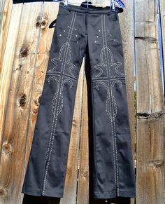 "By Designer ""SINGLE"" - NWT Petite Black Slim Pants - Western Boho Style - Fancy contrasting Tribal Embroidery, Slit Ankles -  Rocker Gypsy Casual or Dressy in size 2 - Offer Price is $53, and includes USA shipping"