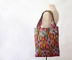 Uzbek ethnic bag, SALE, large cotton tote bag, textile bag, shopper, made in Uzbekistan, ikat bag, book bag, bright, southwestern, carryall