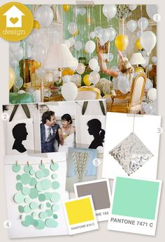 Gray, mint and yellow color scheme. I'd been thinking about this for a mystery baby baby shower but its so vintagey for a wedding too,