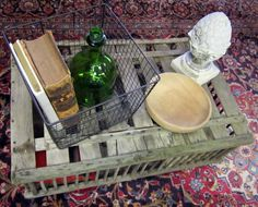 Re-purposed crate as a side table from http://tatertotsandjello.com